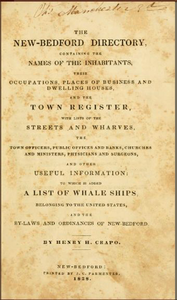 1838 New Bedford Directory - www.WhalingCity.net