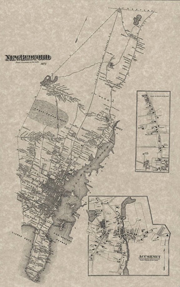 1871 Map of New Bedford, Ma. - www.WhalingCity.net