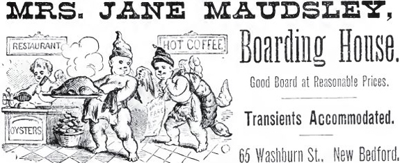 1892 boarding house advert - New BEdford, Ma.-  www.Whalingcity.net