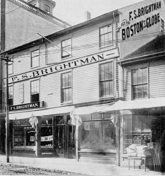 1897 Picture and History  of F.S. Brightman Stationay in New Bedford, Ma - www.WhalingCity.net