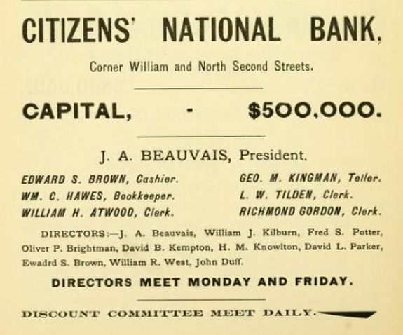 1897 new BEdford Directory ad for Citizens National Bank - www.WhalingCity.net