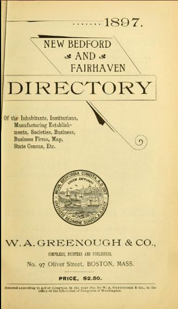 1897 New BEdford - Fairhaven, Massachusetts Directory - www.WhalingCity.net