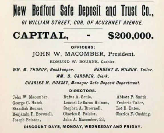 New Bedford Safe Deposit 1897 Ad - www.whalingCity.net
