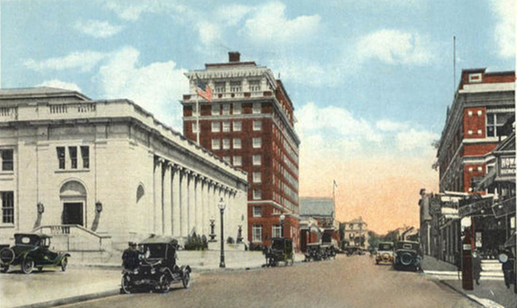 early 1900's Pleasant Street New BEdford - post office and new bedford hotel - www.WhalingCity.net