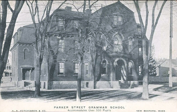 1906 image of the Parker Street Grammar School opened in 1853 - New Bedford, Ma. - www.WhalingCity.net