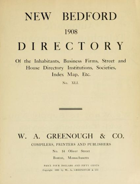 1908 New BEdford Massachusetts Directory - www.WhalingCity.net