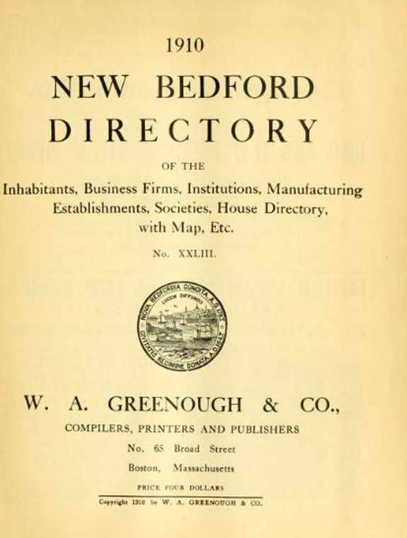 1910 New BEdford Massachusetts Directory - www.WhalingCity.net