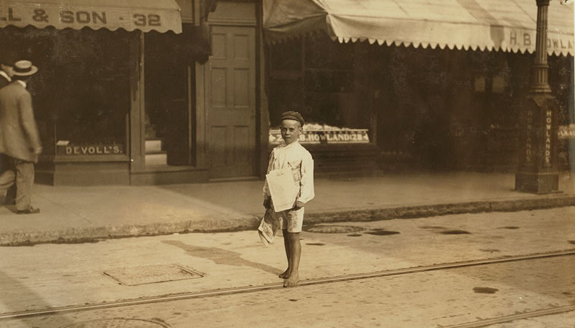 Aug 1911 - John Sims 7 year old newsboy picture 1 - New Bedford, Ma. www.WhalingCity.net