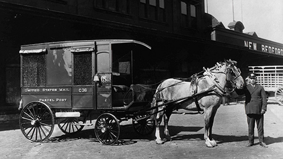 1913 - MAil parcel post delivery wagon - New Bedford, Ma. - www.whalingCity.net