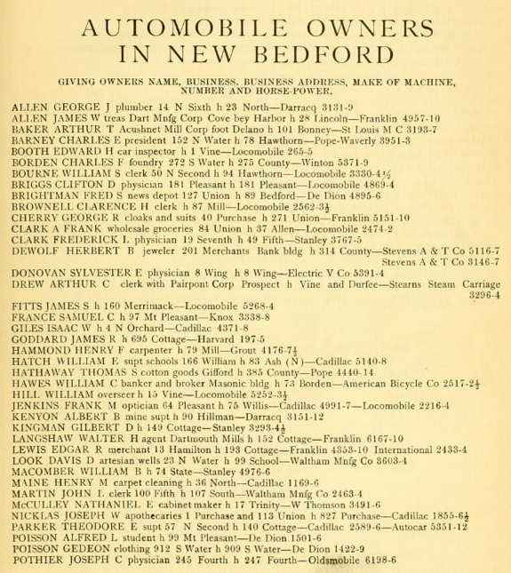 1918 Automobile WOners in New Bedford - www.WhalingCity.net