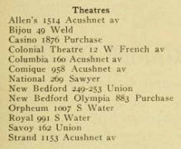 1918 New Bedford directory theater listings - www.WhalingCity.net