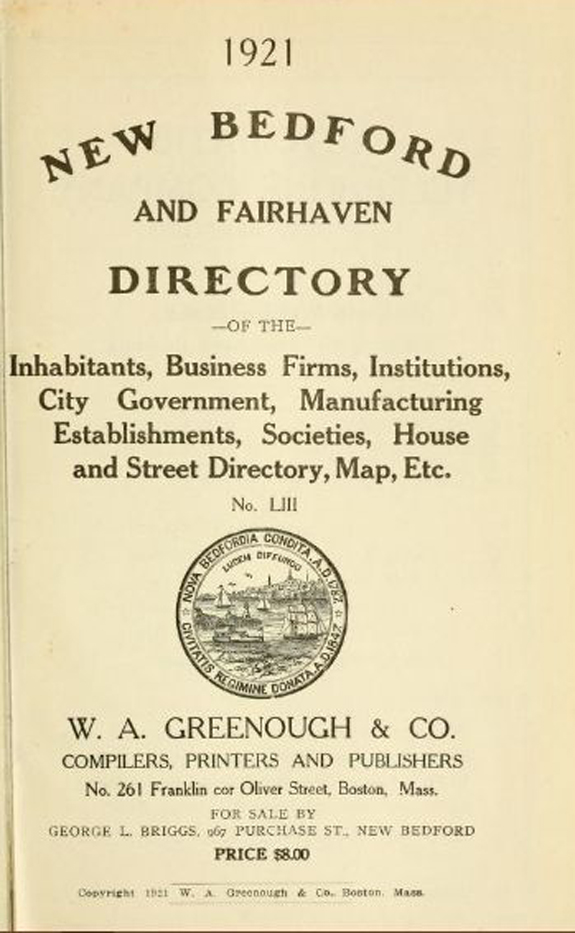1921 New BEdford, Massachusetts  directory - www.WhalingCity.net