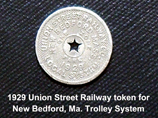 1929 New Bedford Union Street Railway Token - www.WhalingCity.net