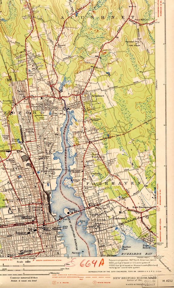 1936 topographical Map Southeast New Bedford, Ma - www.WhalingCity.net