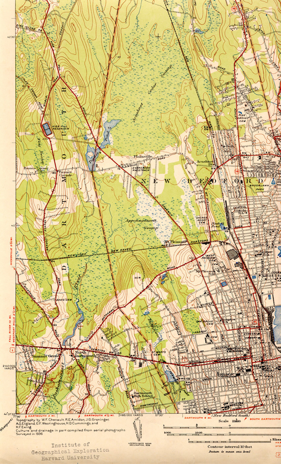 1936 Topographical Map ofSouth West  New Bedford and Parts of Dartmouth - www.WhalingCity.net