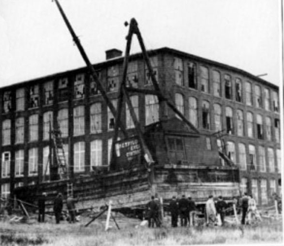 1938 hurricane barge on land near Coggeshall Street - www.WhalingCity.net