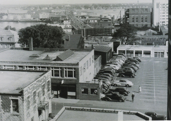 1950's New Bedford, Ma. Mystery view looking east to the Acushnet river  - www.WhalingCity.net