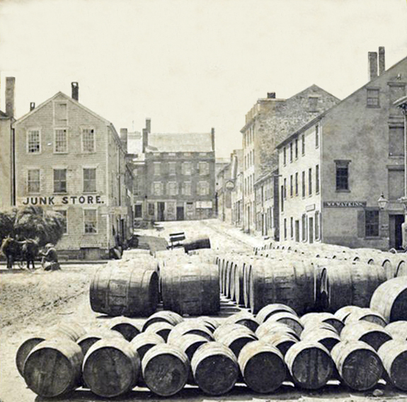 Centre Street New Bedford 1800's with whale oil casks - www.WhalingCity.net