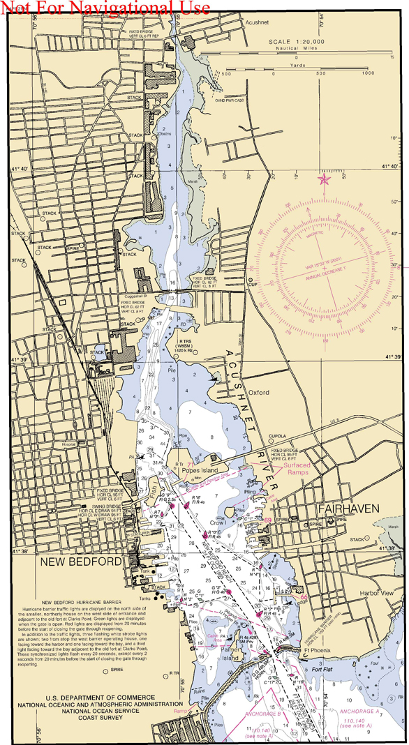 Nautical Chart of New Bedford Harbor - www.WhalingCity.net