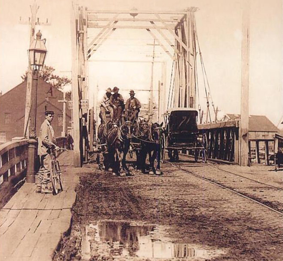 1800's photograph of the New Bedford - Fairhaven Bidge - www.WhalingCity.net