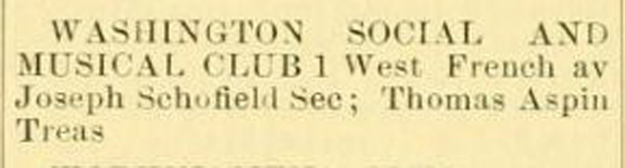 1904 Directory Listing Washington Social and Musical CLub - New Bedford, Ma. - www.WhalingCity.net